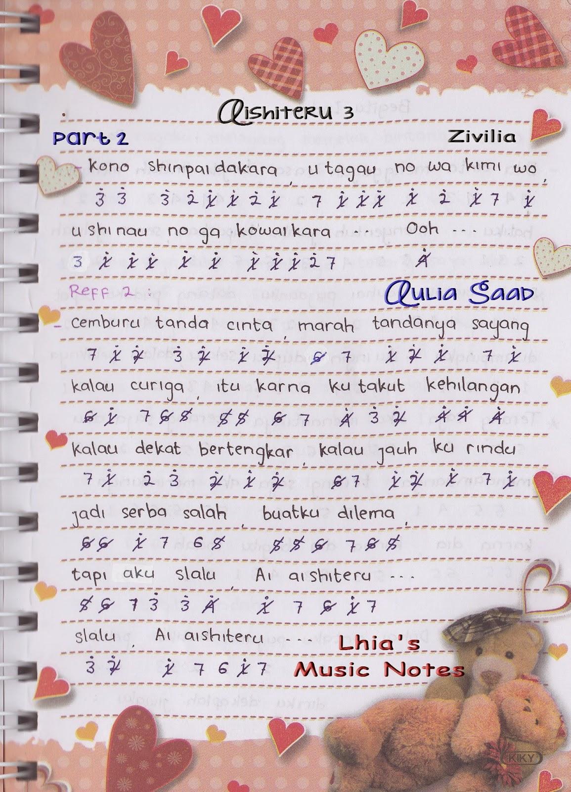 Lirik Lagu Aishiteru 3 : lirik, aishiteru, Angka, Pianika, Zivilia, Aishiteru, Lhia's, Music, Notes