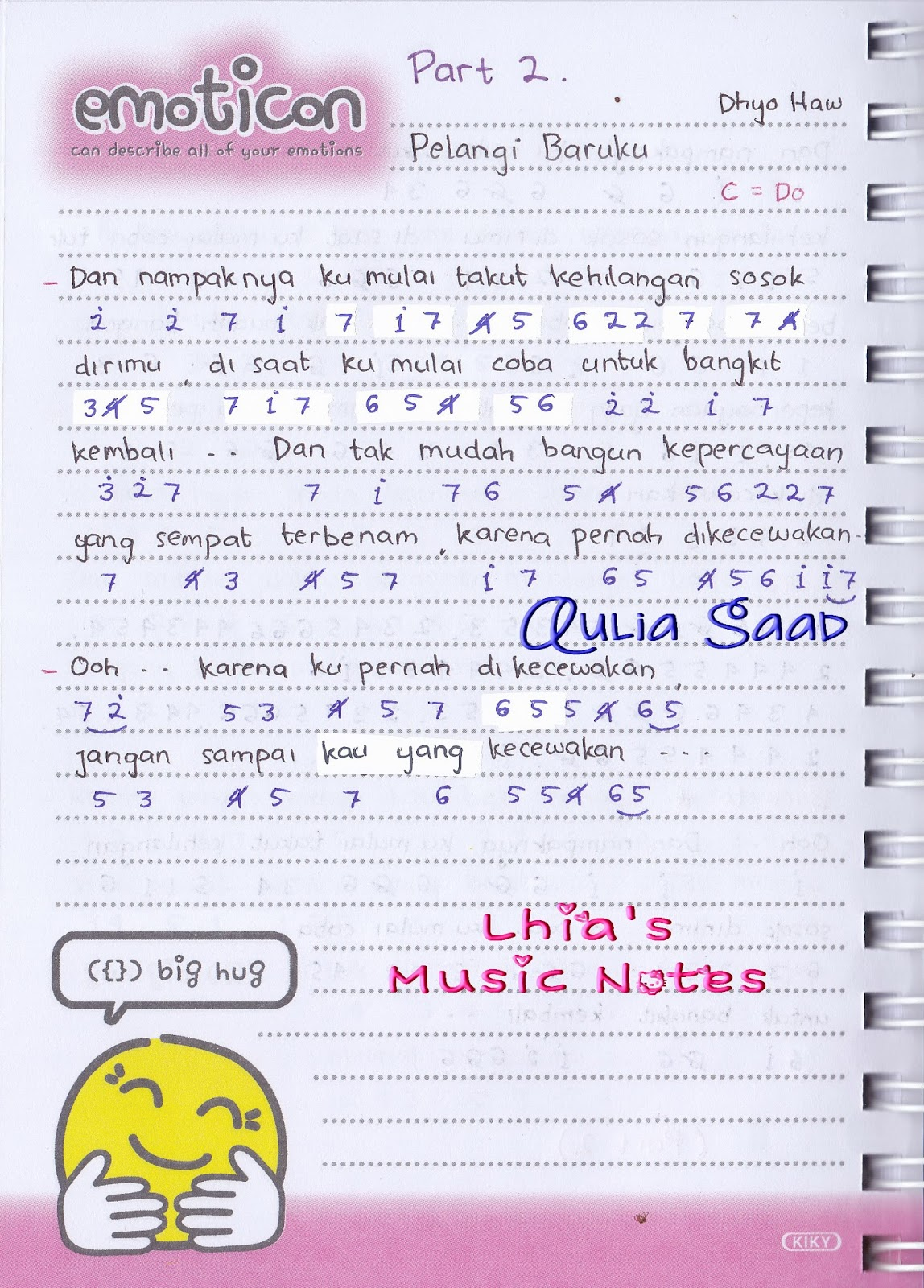 Kunci Lagu Dhyo Haw Jarak Dan Kita : kunci, jarak, Lhia's, Music, Notes