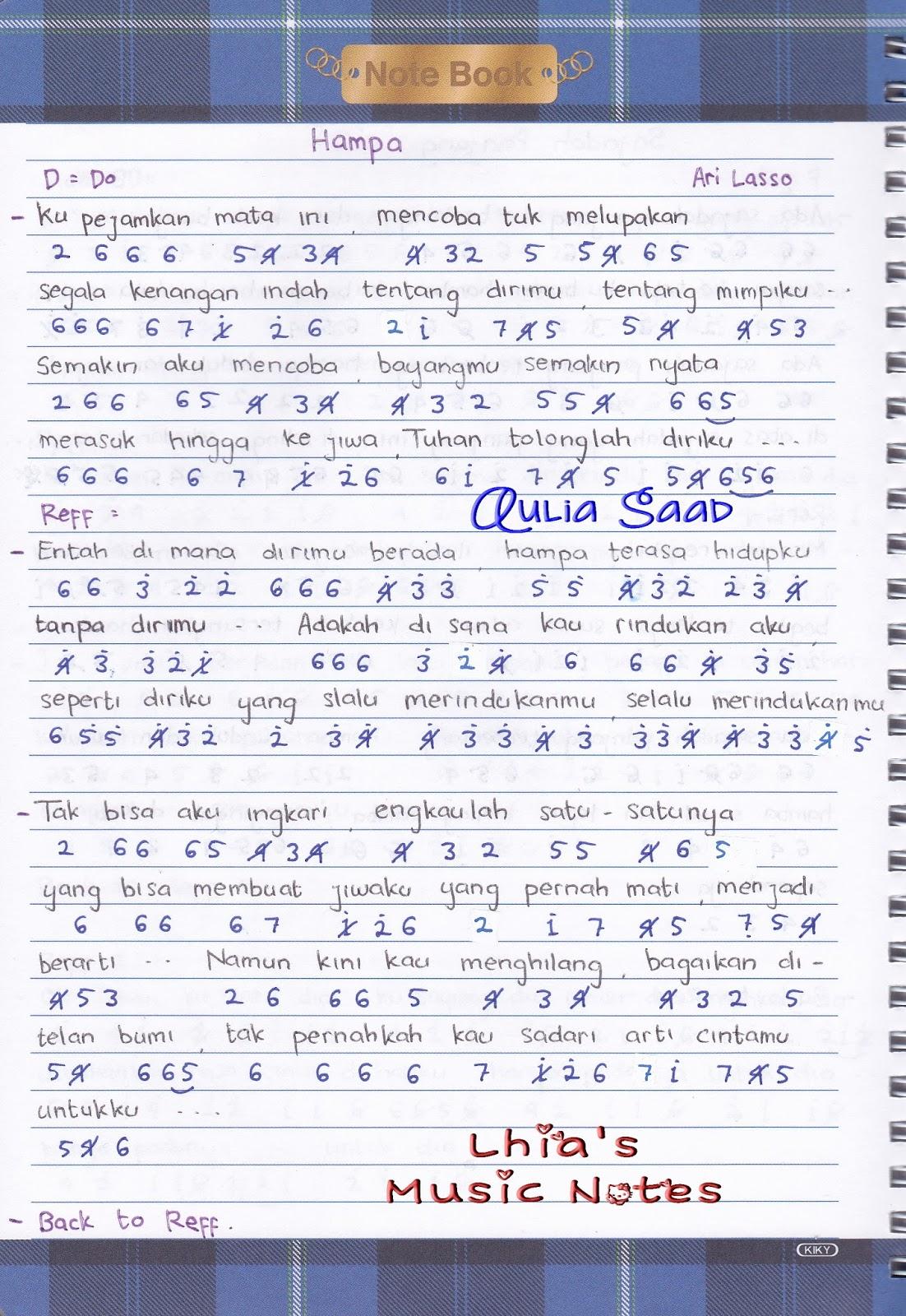 Arti Not Angka : angka, Angka, Lasso, Hampa, Lhia's, Music, Notes