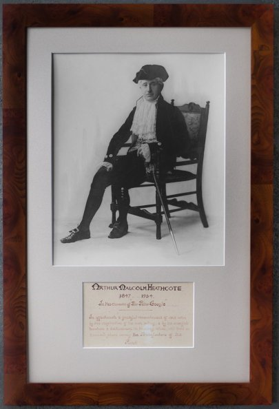 Framed photo of Arthur Malcolm Heathcote, 1847 - 1934, that has been on display in the Parish Hall.