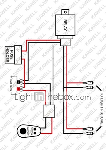 KAWELL Universal 2 lead LED Light Bar Wiring Harness Kit