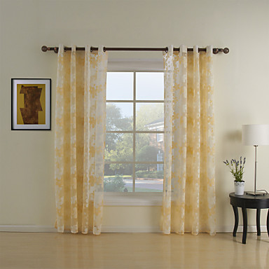 Rod Pocket Grommet Top Tab Top Double Pleat Two Panels Curtain Country Living Room Polyester