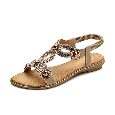 Women's PU(Polyurethane) Summer Sweet Sandals Flat Heel Open Toe Rhinestone / Pearl Black / Pink / Almond