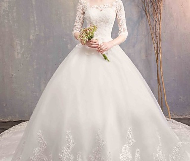 156c43db13b4 ... Appliques Lace By Lan Ting Express 7208234 2019. Ball Gown Jewel Neck  Chapel Train Tulle Lace Over Satin Made To Measure Wedding Dresses With