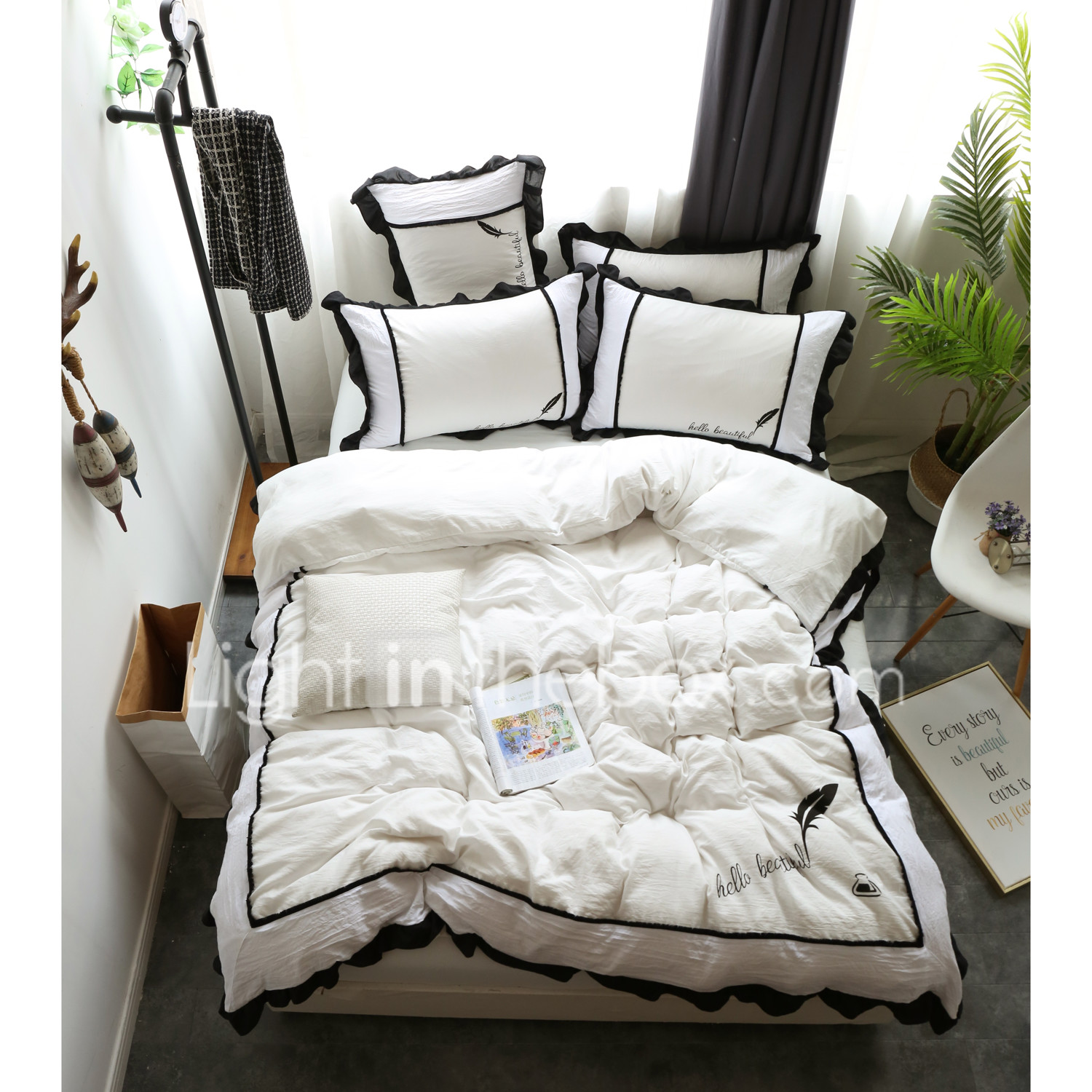 White Duvet Cover Sets Contemporary Polyester Printed 4 Piece Bedding Sets