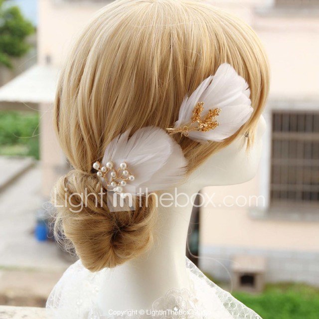 fashion hairpin head decoration for bride pearl and feather