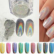 1g Box Colorful Laser Silver Mirror Powder Rainbow Nail Dust Glitter Chrome Pigment