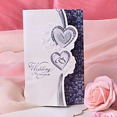 Tri Fold Wedding Invitations 50 Invitation Cards Heart Style Pearl Paper 7 1