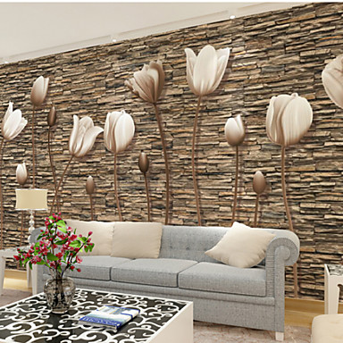 wallpaper living room wall side drawers cheap online for 2019 large 3d stereo mural simple flower stone bedroom tv background wallcoving448 280cm