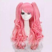 anime long curly wig hair pink