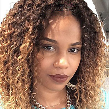 Two Tone Ombre T1b 27 Lace Front Human Hair Wigs Kinky
