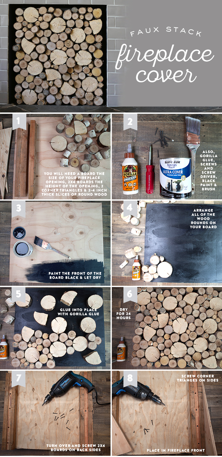 DIY Birch Wood Fireplace Cover