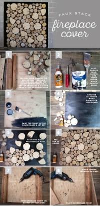 DIY Birch Wood Fireplace Cover