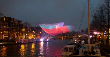 Installation over the Amstel, outside the Music Theatre, Amsterdam