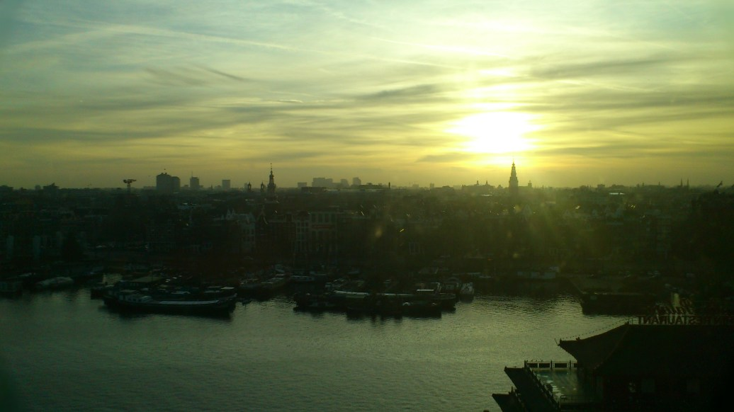 Sunset from the top of the Public Library, Amsterdam. Wonderful view!