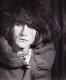 Duchamp in Belle Haleine (translating as Beautiful Breath) with velvet hat, 1921