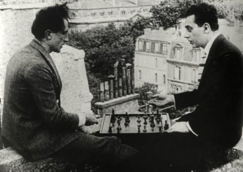 Marcel Duchamp and Man Ray playing chess on the roof of the Théâtre des Champs-Elysées, Paris, in Entr'acte 1924, film by René Clair and Francis Picabia
