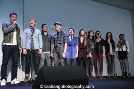 "Conrad Ricamora, Tobias Wong, Enrico Rodriguez, Rob Laqui, Melody Butiu, Carol Angeli Debralee Daco, Daine Phelan, Janelle Velasquez and Renée Abulario sing ""A Perfect Hand"" at the Here Lies Love Apple Store Soho Event in New York on October 25, 2014. Photo by Lia Chang"