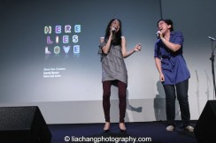 "Jaygee Macapugay and Melody Butiu sing ""Here Lies Love at the Here Lies Love Apple Store Soho Event in New York on October 25, 2014. Photo by Lia Chang"