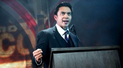 Jose Llana as Ferdinand Marcos in Here Lies Love at The Public Theater. Photo by Joan Marcus