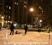 Sledding in New York on January 26.2015. Photo by Lia Chang