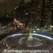 Columbus Circle Fountain in New York on January 26, 2015. Photo by Lia Chang