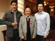 Russell Chang with nephews Matthew Hill and Eli Hill at his 70th birthday party on December 15, 2012. Photo by Lia Chang