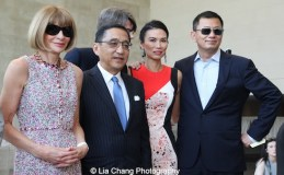 Vogue editor-in-chief Anna Wintour, financier Silas Chou, Costume Institute curator Andrew Bolton, Wendi Murdoch, and filmmaker Wong Kar Wai attend the 'China: Through the Looking Glass' press preview at the Temple of Dendur at Metropolitan Museum of Art on May 4, 2015 in New York City. Photo by Lia Chang