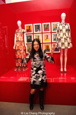 "Vivienne Tam (American, born Guangzhou), ""Mao Portrait Dress,"" spring/summer 1995 Polychrome printed nylon mesh, The Metropolitan Museum of Art, Gift of Vivienne Tam, 2004 (2004.521.1); Andy Warhol, Mao © 2014 The Andy Warhol Foundation for the Visual Arts, Inc. / Artists Rights Society (ARS), New York Acrylic and silkscreen on canvas; ""Mao Suit,"" spring/summer 1995, White and black polyester jacquard, Courtesy of Vivienne Tam. Photo by Lia Chang"