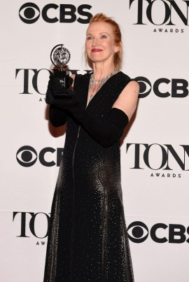 "NEW YORK, NY - JUNE 07: Catherine Zuber, winner of the award for Best Costume Design of a Musical for ""The King and I,"". poses in the press room at the 2015 Tony Awards on June 7, 2015 in New York City. (Photo by Andrew H. Walker/Getty Images for Tony Awards Productions)"