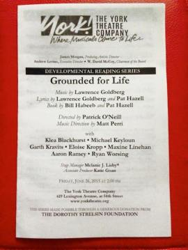 Grounded for Life playbill. Photo by Lia Chang