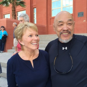 LVHS Class of 1960 alumni Rowena Mitchell Thiess and Russ Chang at Las Vegas High School in Las Vegas, NV on September 26, 2015. Photo by Lia Chang