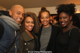 Marcus D. Harvey, Lastasha Amos, 2014-2015 DG Fellow Camille Darby and Rashawn Austin at the 2014-2015 DG Fellows Presentation at Playwrights Horizons in New York on October 19, 2015. Photo by Lia Chang