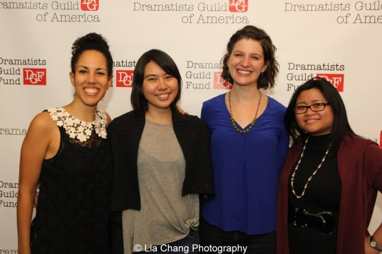 Colette Robert, Siho Ellsmore, Katie Consamus and 2014-2015 DG Fellow Kristine M. Reyes at the 2014-2015 DG Fellows Presentation at Playwrights Horizons in New York on October 19, 2015. Photo by Lia Chang