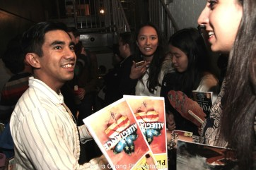 Aaron J. Albano signs autographs backstage at the Longacre Theatre in New York after the first preview of ALLEGIANCE on October 6, 2015. Photo by Lia Chang