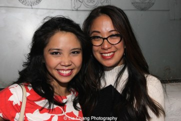 Catherine Ricafort and Jaygee Macapugay backstage at the Longacre Theatre in New York after the first preview of ALLEGIANCE on October 6, 2015. Photo by Lia Chang