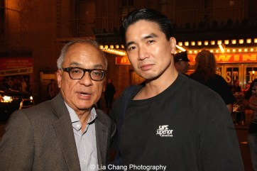 Conscience and the Constitution filmmaker Frank Abe and Greg Watanabe, who plays Mike Masaoka, after the first preview of Allegiance at the Longacre Theatre in New York on October 6, 2015. Photo by Lia Chang