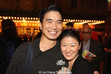 Greg Watanabe and Jennifer Lim at the Longacre Theatre in New York after the first preview of ALLEGIANCE on October 6, 2015. Photo by Lia Chang