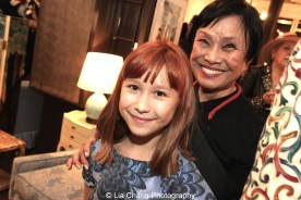 Luna Cuming Shaw and her grandmother Pat Suzuki at the opening reception of Tiger Morse by Mark Shaw: Jet Set Style Quest, 1962 at The Liz O'Brien Gallery in New York on November 3, 2015. Photo by Lia Chang