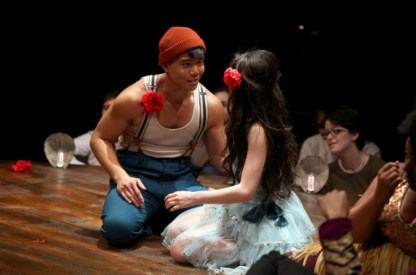 Telly Leung and Anna Maria Perez de Tagle in Godspell. Photo by Jeremy Daniel