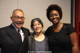 Arlan Huang, Tomie Arai and Shervone Neckles-Ortiz, Artist Support Manager of the Joan Mitchell Foundation. Photo by Lia Chang