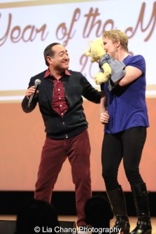 Sesame Street's puppeteer Jennifer Barnhart and Alan Muraoka at the Metropolitan Museum of Art's annual Lunar New Year festival on February 6, 2016 in New York. Photo by Lia Chang