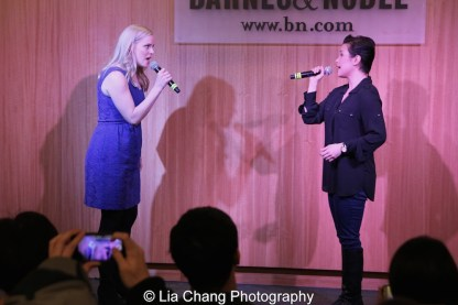 """Katie Rose Clarke and Lea Salonga sing """"Stronger Than Before"""" to celebrate the release of the ALLEGIANCE Original Cast recording at the Barnes and Noble CD Signing event in New York on Feb. 5, 2016. Photo by Lia Chang"""