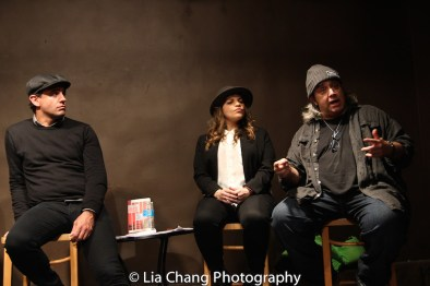 Bobby Cannavale, Paola Lázaro-Muñoz and Stephen Adly Guirgis at the Drama Book Shop in New York on April 5, 2016. Photo by Lia Chang