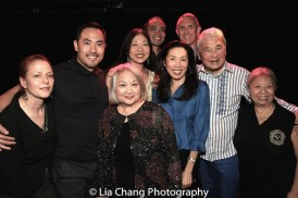 FLOWER DRUM SONG cast members Marcus Choi (2002), Virginia Wing (summer stock), Lainie Sakakura (2002), Jose Llana (2002), Jodi Long (2002), director Bobby Longbottom (2002) Alvin Ing and Paula Chin (Original Broadway Cast). Photo by Lia Chang