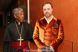 STC's The Taming of the Shrew pre show: André De Shields as Cardinal Gremio and Tom Story as Hortensio. Photo by Lia Chang
