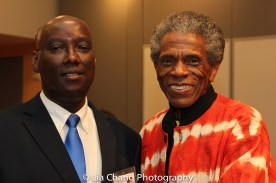 """Author Aimable Twagilimana, Professor, SUNY Buffalo State and André De Shields at the """"Celebrate Rwanda"""" event at The SUNY Global Center in New York on June 29, 2016. Photo by Lia Chang"""