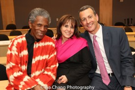 """André De Shields, Dr. Maryalice Mazzara, Director of Education Programs, SUNY's Office of Global Affairs; and Drew Kahn, Professor of Theater at Buffalo State College and Founder of The Anne Frank Project at the """"Celebrate Rwanda"""" event at The SUNY Global Center in New York on June 29, 2016. Photo by Lia Chang"""