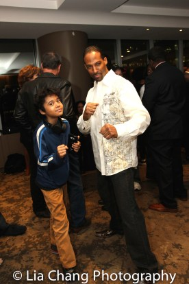 Demetrius Angelo and his son at the Cinemax® VIP Welcome Red Carpet Reception and UAS IAFF Awards at HBO in New York on November 11, 2016. Photo by Lia Chang