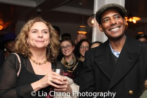 August Wilson's widow Constanza Romero and Billy Eugene Jones at the opening night celebration at Atelier Florian. Photo by Lia Chang